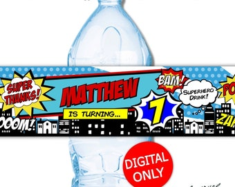 DIGITAL DOWNLOAD Super Hero superhero Theme Water Bottle Labels Wrappers Digital Printable