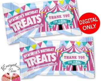 DIGITAL DOWNLOAD Carnival Theme Rice Krispies Treats Labels Digital Printable