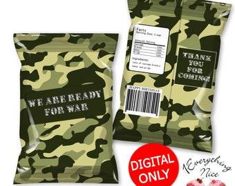 DIGITAL DOWNLOAD Camouflage Theme Chip Bag Labels Digital Printable