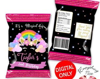 DIGITAL DOWNLOAD Unicorn Chip Bag Labels Printable Digital Download