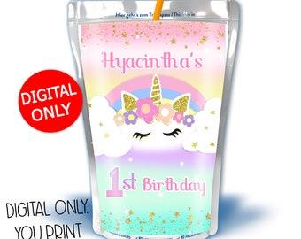 Unicorn Capri Sun Labels  Unicorn Birthday Party  INSTANT DOWNLOAD EDITABLE  Bir87