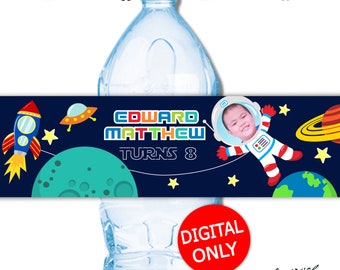 DIGITAL DOWNLOAD Outer Space Out of this World Space Theme Water Bottle Labels Wrappers Digital Printable