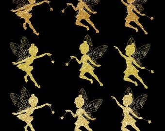 CLIPART Fairies Gold Silhouette Clip Art Set Digital Download