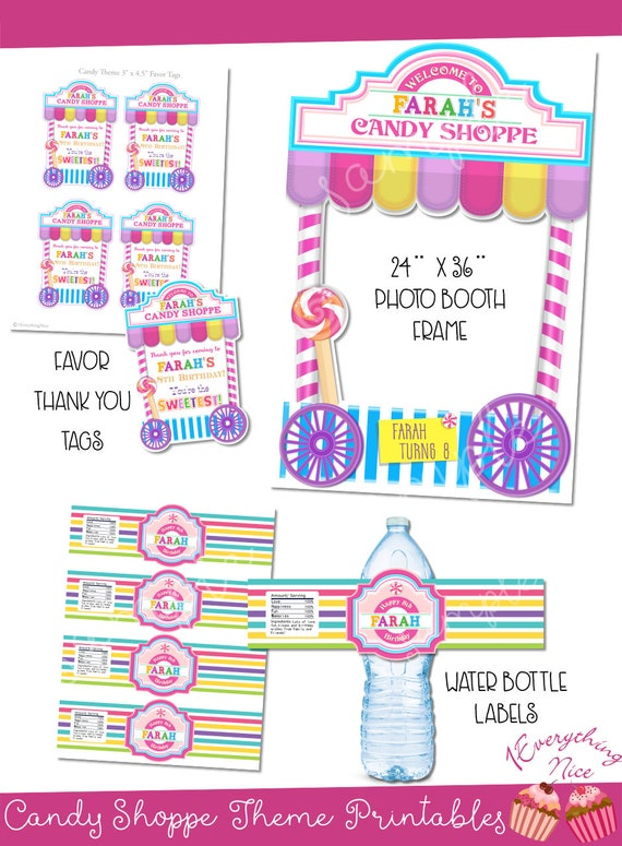 picture relating to Diy Printables called Sweet Shoppe Birthday Topic Electronic Obtain Tailored