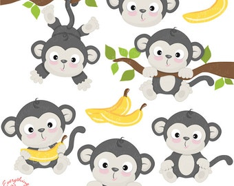 Cute Little Gray Monkey Clipart Set
