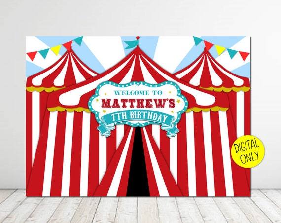 digital download carnival theme 7ft wide x 5ft high backdrop