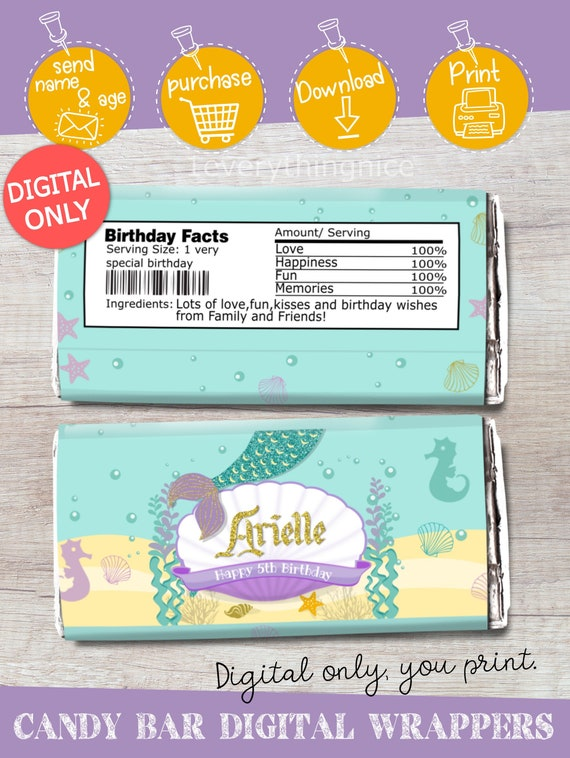 Printable Digital Download Personalized Candy Candy Wrappers Mermaid Inspired Hershey Bar