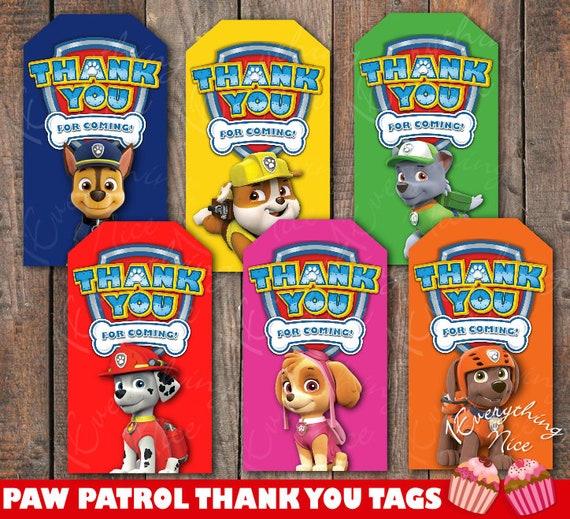 Paw Patrol Theme Birthday Thank You Tags  58af1f2051