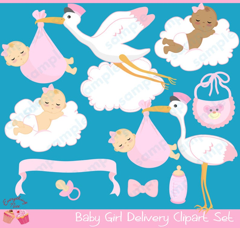 55d596995719 Baby Girl Delivery Clipart Set