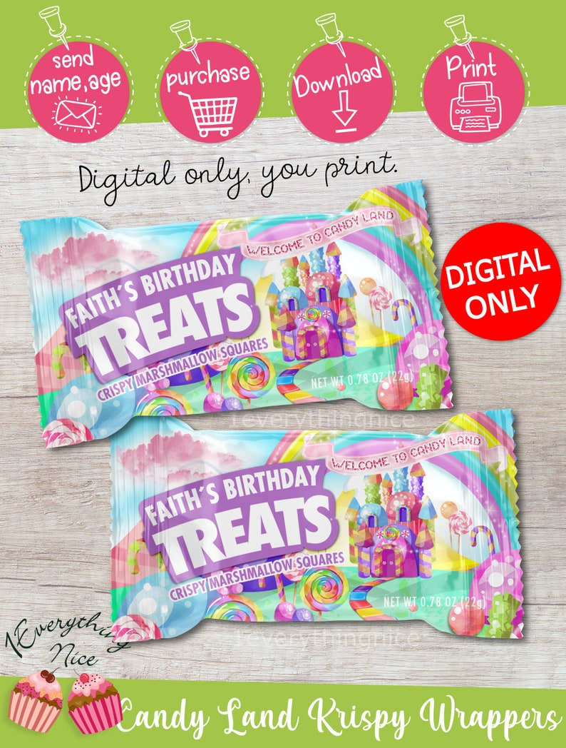 DIGITAL DOWNLOAD Candy Land Birthday Party Rice Krispy Wrappers Crispy Labels Digital Printable