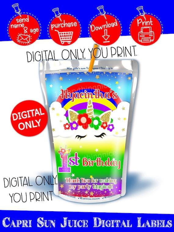DIGITAL DOWNLOAD Rainbow Unicorn Caprisun capri sun juice Labels Printable Digital Download