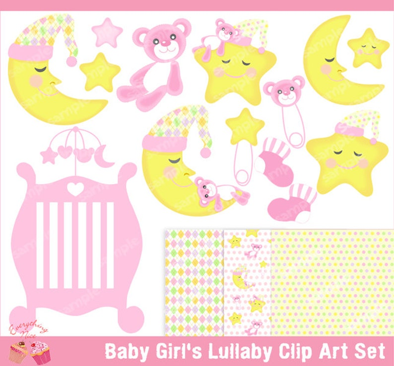 7b0b976aefec Baby Girl s Lullaby Clipart Set