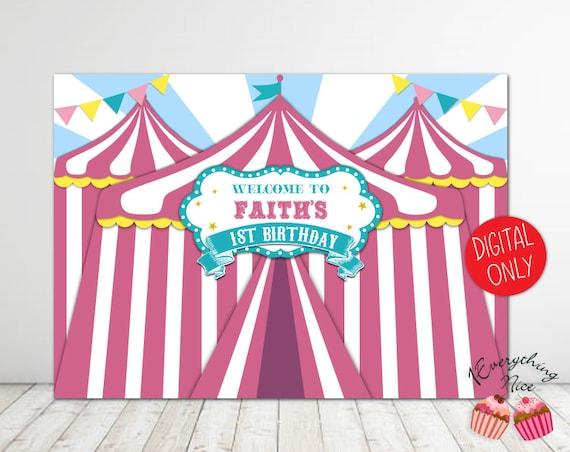 digital download pink carnival theme 7ft wide x 5ft high backdrop