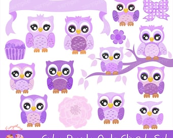 Cute Purple Owls Clipart Set
