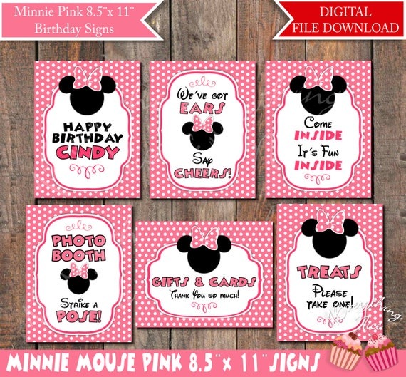 Minnie Mouse Pink Birthday 85 X 11 Signs Printable Digital Download Files