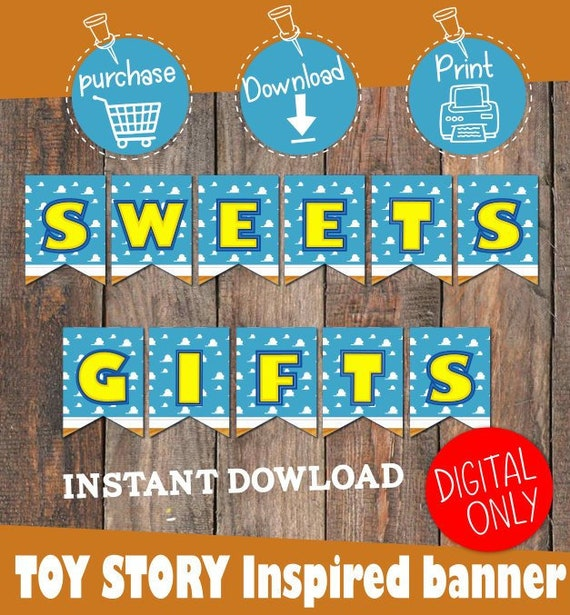 DIGITAL DOWNLOAD Toy Story Inspired Sweets And Gifts Banner