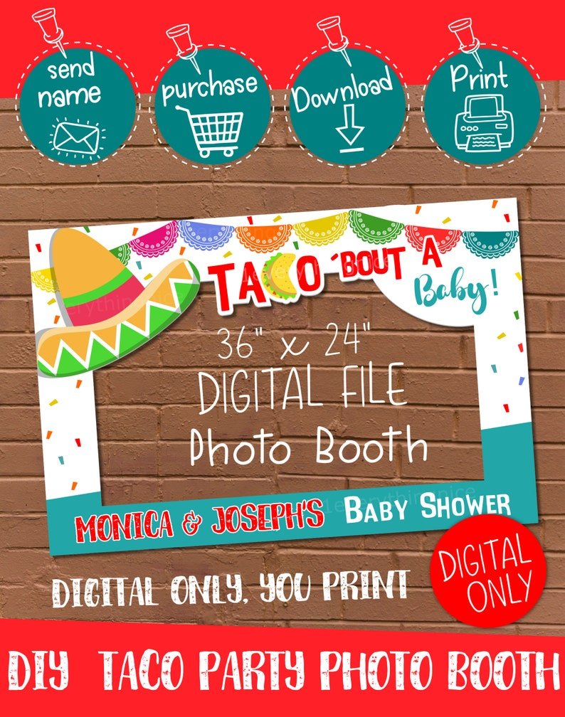 DIGITAL DOWNLOAD Taco bout a Baby Theme 36 x 24 Landscape Photo Booth Frame Digital Download