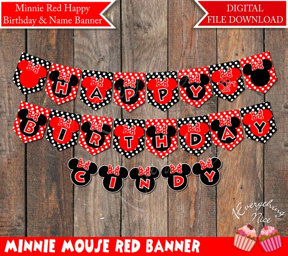 minnie mouse red digital happy birthday banner and name banner