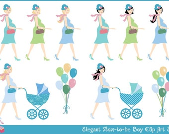 Elegant Mom-to-be Boy Clip Art Set