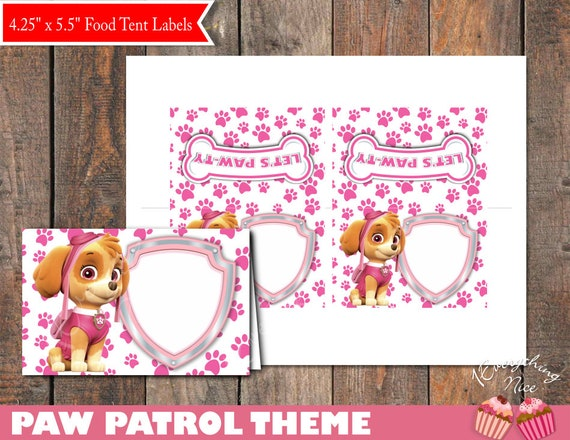 paw patrol skye theme food tent labels digital download by