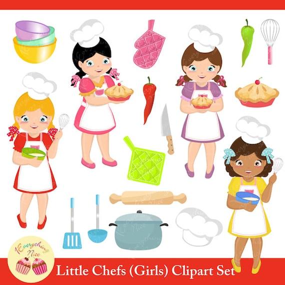 Koch bei der arbeit clipart  Kleine Koch-Mädchen-Clipart-Set | Etsy