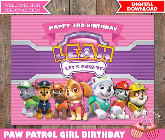 paw patrol theme pink happy birthday sign personalized by
