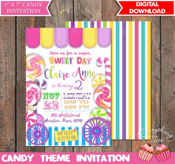 Candy Theme Birthday Invitation With Backside Printable Digital Download
