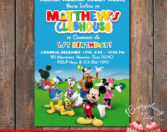 Mickey Mouse Clubhouse Birthday Invitation Invite Card