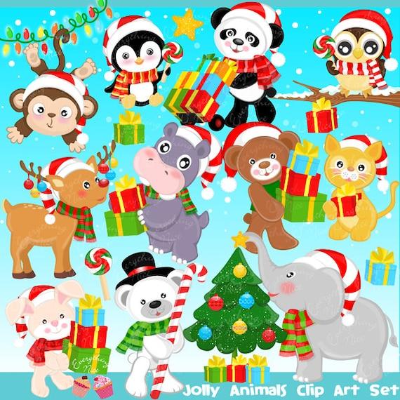 Jolly Christmas Animals Clipart Set | Etsy