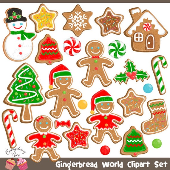 Gingerbread Man Gingerbread Word Christmas Cookies Clipart Set By