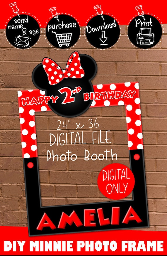 Digital Download Minnie Mouse Red 24 X 36 Happy Birthday Photo