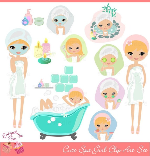 cute blonde girl spa clip art set etsy
