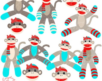 Girl Sock Monkeys in Red and Aqua Clipart Set