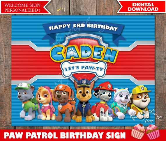 Paw Patrol Theme 85 X 11 Happy Birthday Sign