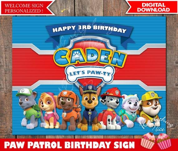 paw patrol theme 8 5 x 11 happy birthday sign personalized by