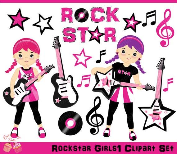 rockstar girls clipart set etsy rh etsy com rock star clip art for kids You Rock Star Clip Art
