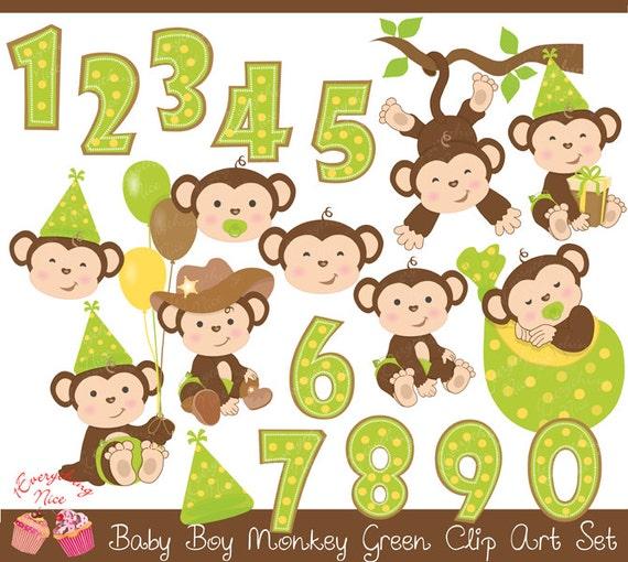 Baby Boy Monkey Green Clip Art Set