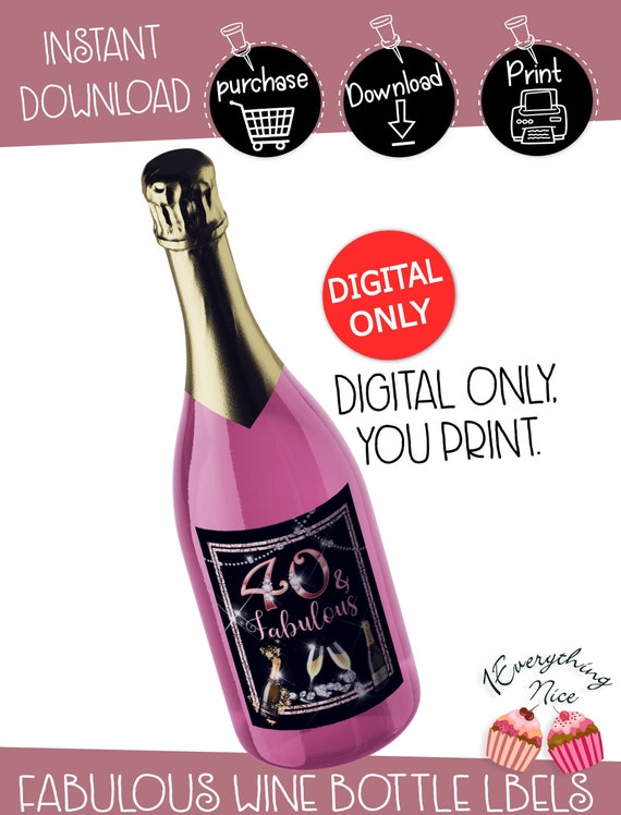INSTANT DIGITAL DOWNLOAD 40 and fabulous Rose Gold and Diamonds Theme Water Bottle Labels Digital Printable