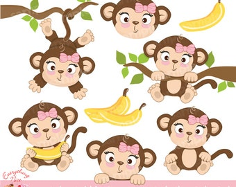 Cute Little Monkey Girl Clipart Set