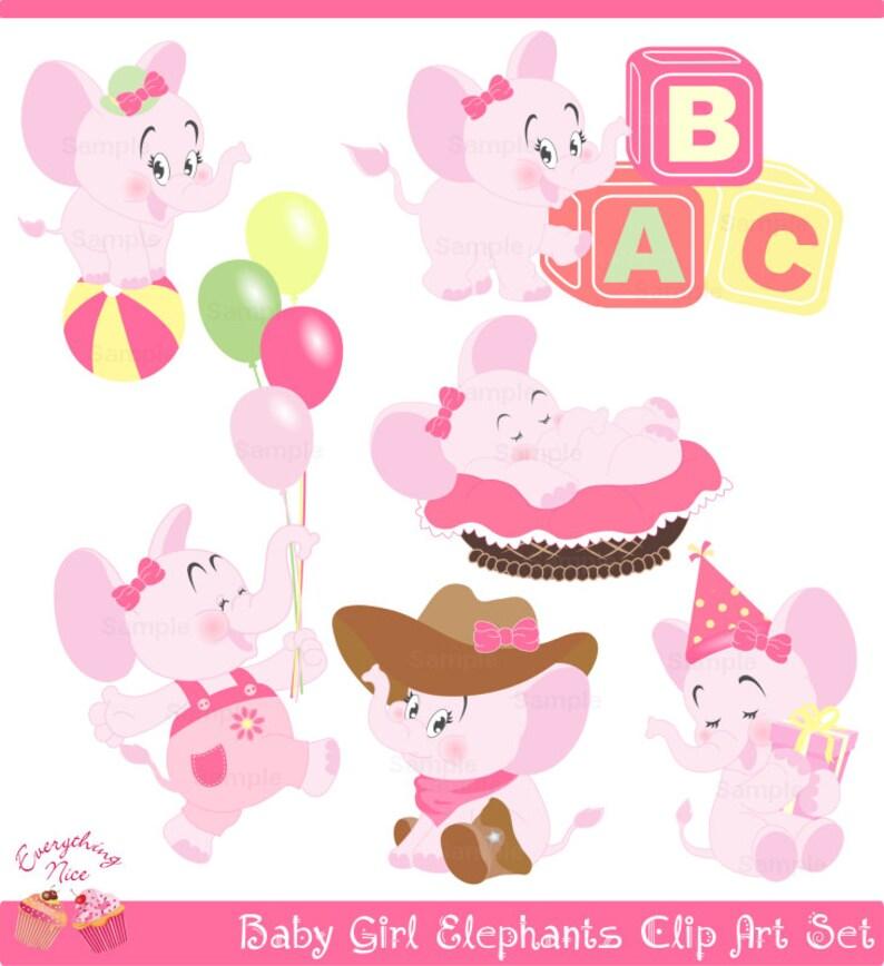 755def15de62 Cute Baby Girl Elephants Clip Art Set
