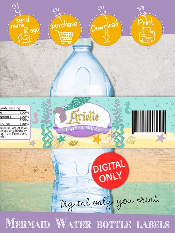 Digital Printable. Girl Mermaid Birthday Party Favors and Supplies Cant Be A Mermaid Without Water Girl 8x2 Birthday WATER BOTTLE Label