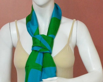 Pure Silk Green and Turquoise Color Hand Printed Stole/Scarf