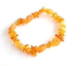Baltic Amber Bracelet. Honey amber beads on elastic string