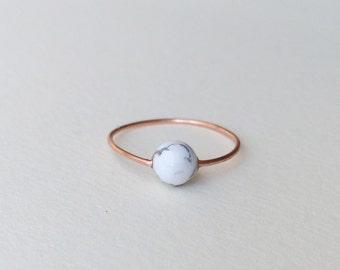 Copper marble minimalist ring / womens white black gray marbled howlite stone sleek simple minimal thin delicate modern womans women