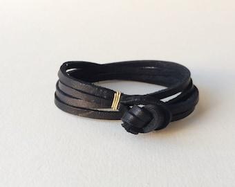 "the ""Double Double"" leather wrap bracelet - black / simple unisex woman man womens mens men's thick minimalist gold silver anniversary knot"