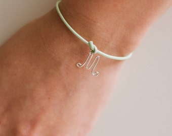 Tie the knot personalized mint green initial bracelet, gold silver adjustable leather bridesmaid infinity knot letter charm bridesmaids gift