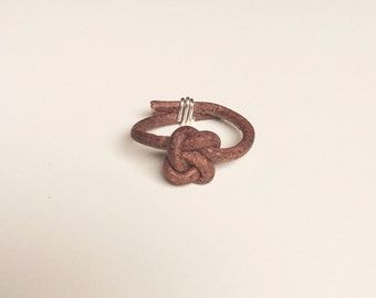 Simple leather double knot ring, natural brown leather, sterling silver or gold wire, naturally dyed infinity knot tie the knot novelty mens
