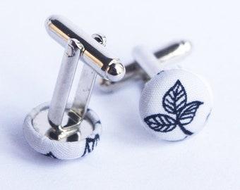 Black White Leaves Cuff link, Romantic leaf cufflinks, Country groomsman gift - Nature Wedding Groomsmen Groom accessories