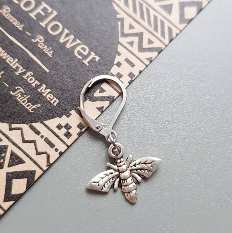 Insect jewelry for men Man Bee earring Silver bumble image 0