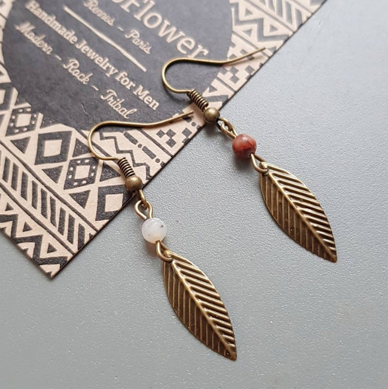 cool man gift dangle earring with stone  jasper or image 0